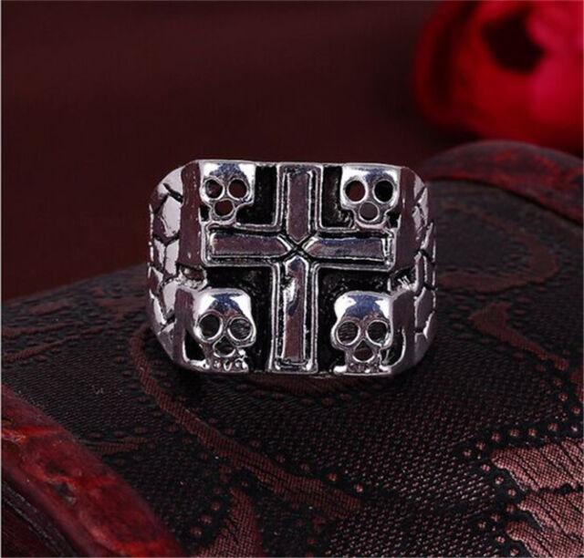 Men's Stainless Steel Gothic 4 Skull Skeleton Crypt Cross Biker Ring Size 8 -11