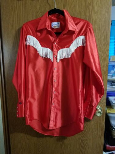 Rockmount Ranch Wear Red Western Rodeo Shirt Fring