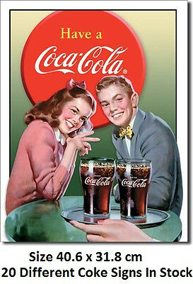 Coca Cola Coke Young Couple Classic Tin Sign 1304  Made in USA -Licensed