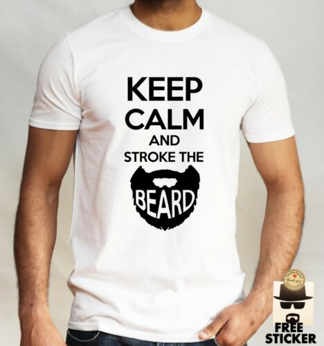 Keep Calm And Stroke The Beard T-shirt Funny Adult Father Day Dad Gift Top Mens