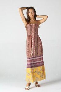NWT Angie Smocked Printed Floral Summer Sun Maxi Midi Beach Dress S/M/L