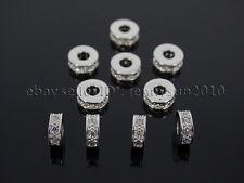 Zircon Gemstones Pave Rondelle Bracelet Connector Charm Beads Silver Gold Rose
