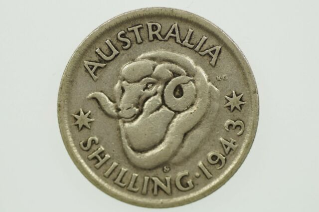 1943 S Shilling Variety Blob Attached Front Top of Mint Mark in Fine Condition