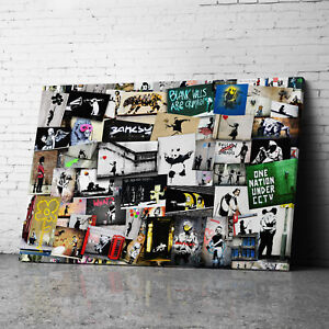 Collage Banksy Canvas Wall Art Prints Framed Large Graffiti Pictures
