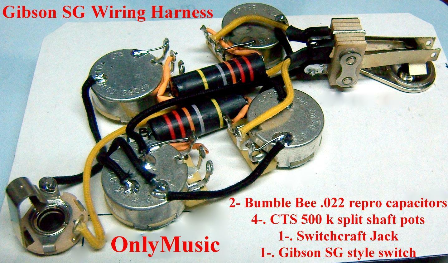 COMPATIBLE WITH GIBSON SG BUMBLE BEE REPRO VINTAGE WIRING HARNESS & SWITCH