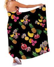Negro Tropical Frutas diseño Chiffon SARONG TRAJE DE BAÑO Beach Vestido playero
