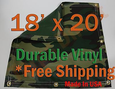18' X 20' Heavyweight Vinyl Camo Camouflage Tarp Ground Cover Blind Hunting Yard, Garden & Outdoor Living Garden Structures & Shade
