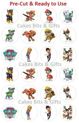 24 x PAW PATROL CHARACTER MIX Edible Wafer Cupcake Toppers, PreCut Ready to Use