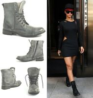 LADIES WOMENS FLAT LOW BLOCK HEEL ANKLE BIKER MILITARY ARMY ZIP BOOTS SHOES SIZE