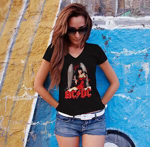 AC-DC-Women-Black-T-shirt-V-Neck-ACDC-Rock-Band-Fan-Tee-Shirt