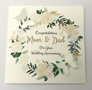 Personalised Wedding Anniversary Card 25th 30th 60th Mum Dad Wife