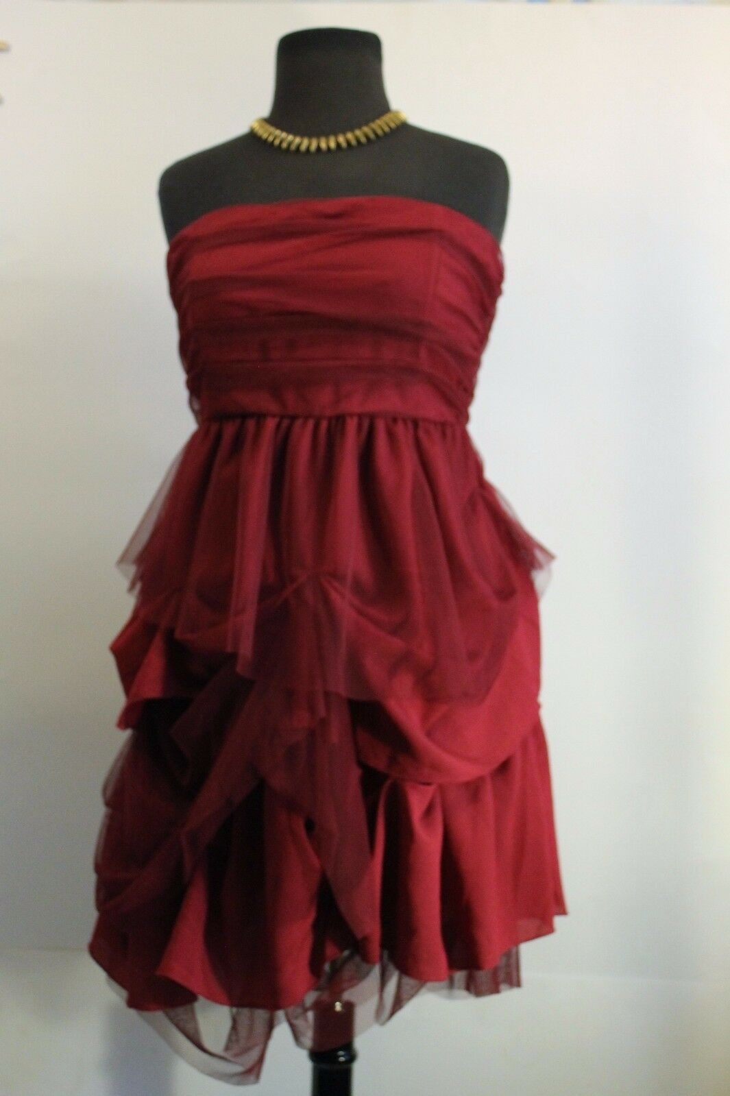 SALE Miss Me-maroon layered dress with netting ,  bandeau top, full skirt