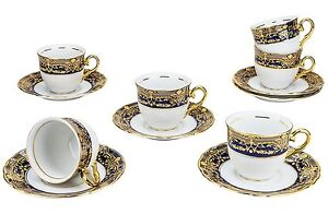 Six Classic Vintage Porcelain Gold-Plated Tea Cups with Saucers, 12-Piece Set