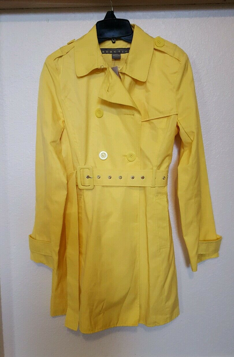 NWT Womens Kenneth Cole Trench Coat Rain Coat Yellow Size S