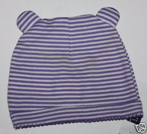 36c1dd780619 baby Gap NWT Girls Purple Striped 100% Cotton Knit Hat w  Bear Ears ...