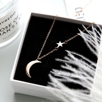 Moon Star Pendant Choker Necklace Gold Silver Long Chain Women/'s Jewelry Gift UK