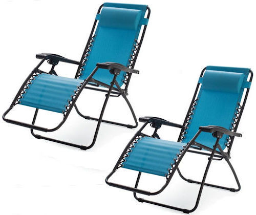 bluee Zero Gravity Chairs Outdoor Folding Recliner Lawn Patio Pool Camping Beach