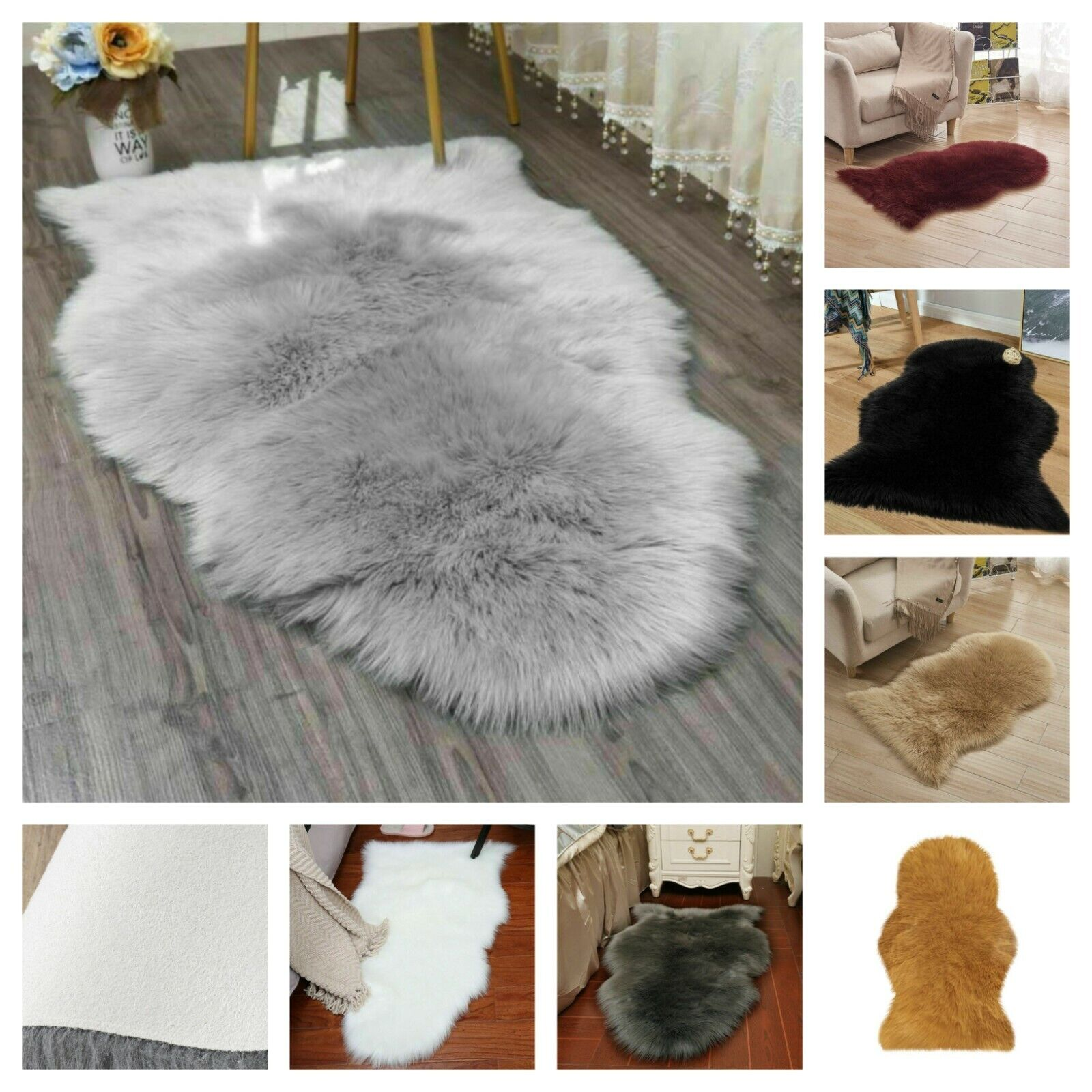 Grey Soft Plain Fluffy Bedroom Faux Fur Fake Single Sheepskin Rugs Hairy Mat