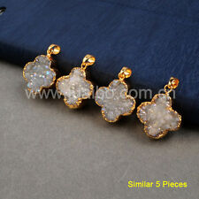 5Pcs Clover Natural Color Agate Druzy Titanium AB Pendant Gold Plated HOT BG0390