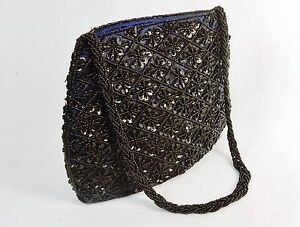 Small-Purse-Hand-Bag-Black-Beads-amp-Sequins-on-Deep-Purple-Fabric-CHBP19
