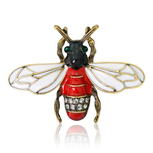 Lindo Esmalte de Metal Forma de Diamantes de Imitación Abeja Insecto Broche Pin de Solapa Moda Joyería