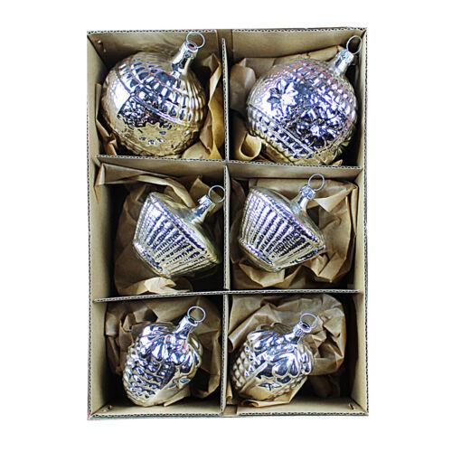 6 Weihnachts Ornamente Glas silber #17 Weihnachtsbaumkugeln mundgeblasen Lauscha