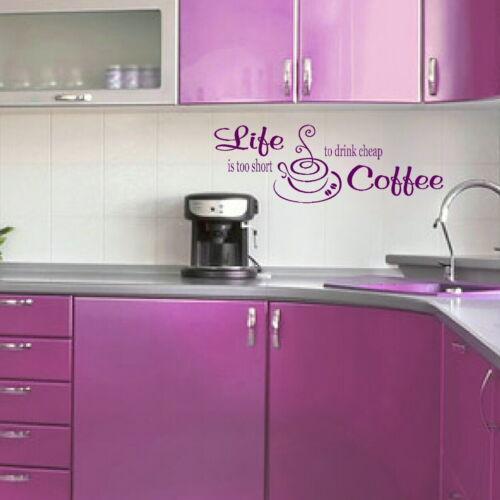 Vinilo Arte kq21 La vida demasiado corta para beber barato Café Cocina citar pegatinas de pared