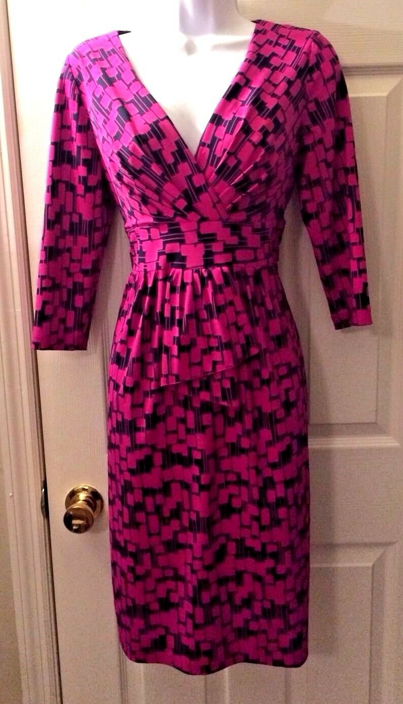 damen's DAVID MEISTER Dress Rosa Navy Blau Geometric Faux Wrap 3 4 Sleeve Sz 6