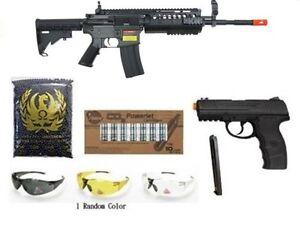 GE-AEG-Airsoft-Rifle-WG-W3000-Pistol-Extra-Magazine-CO2-Cartridges-4350-BBs