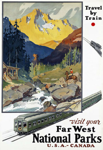 R16 Vintage USA American Railway Travel Poster A1 A2 A3