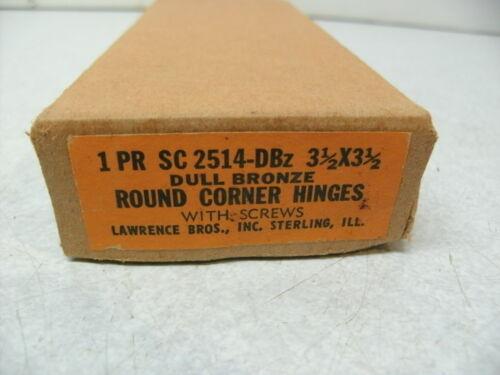 "NOS VINTAGE HINGES USA LAWRENCE SC2514DBZ 3-1//2/"" X 3-1//2/""  DULL ROUND CORNER D"