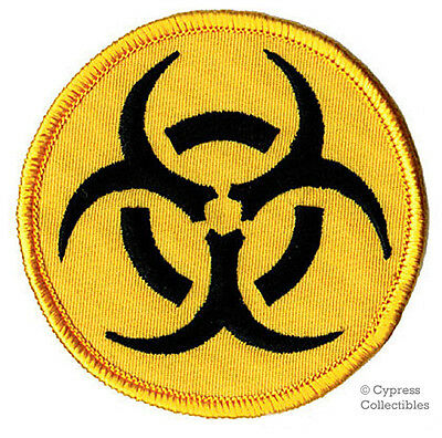 BIOHAZARD SYMBOL embroidered iron-on PATCH YELLOW LOGO WARNING TOXIC NUCLEAR