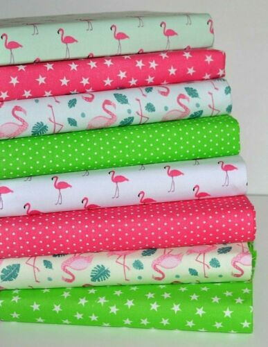 PINK /& GREEN  FLAMINGO POLY COTTON FABRIC BUNDLE SEWING MATERIAL CRAFTS