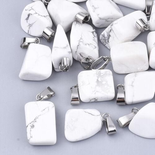 24x Freeform Precious Stone Pendants w// Bail Holder Smooth Dangle Charms 15~35mm