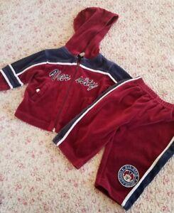 766300372 Baby Boy 2 Piece Velvet Track Sweat Suit Zipper Hoodie Jacket Size 6 ...