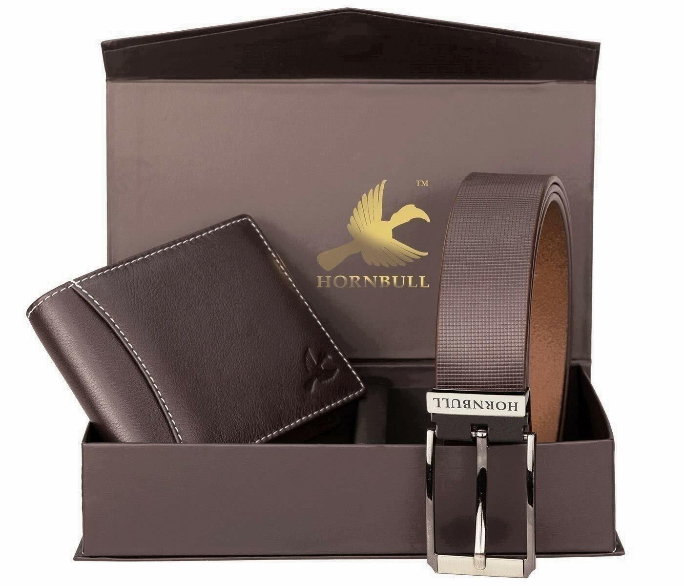 Hornbull Gift Hamper for Men Brown Wallet and brown Belt Men's Combo gift Set
