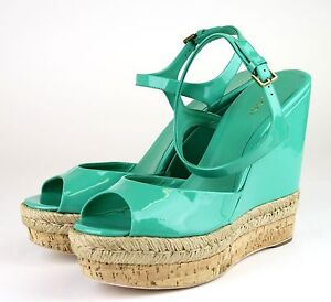c491c174561e Image is loading Gucci-Green-Hollie-Patent-Leather-Platform-Wedge-Sandal-