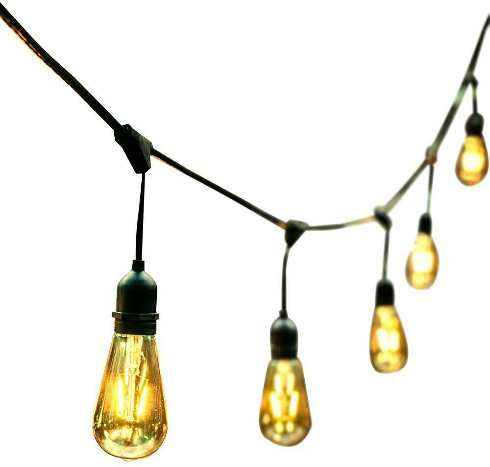 OVE Decors 48 ft. 24 OverGrößed Edison Light Bulbs schwarz schwarz schwarz Gold All Weather LED ca0c60