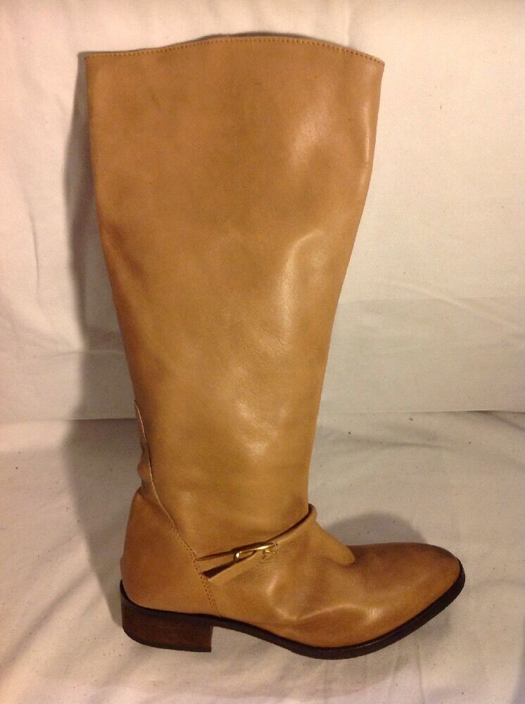 Miss KG Beige Knee High Leather Boots Size 38