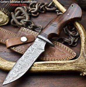 Handmade Damascus Steel Blade Hunting Knife | Walnut Wood