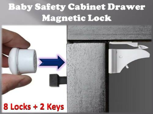 Magnetic Baby Safety Lock Cupboard Cabinet Drawer Set of 8 Locks + 2 Keys