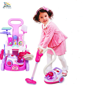 Kids-Role-Play-Vacuum-Cleaner-Cart-Trolley-Toy-Housekeeping-Clean-up-Hoover-Set