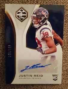 2018-LIMITED-FOOTBALL-JUSTIN-REID-RC-AUTO-149-AUTOGRAPH-HOUSTON-TEXAS-ROOKIE