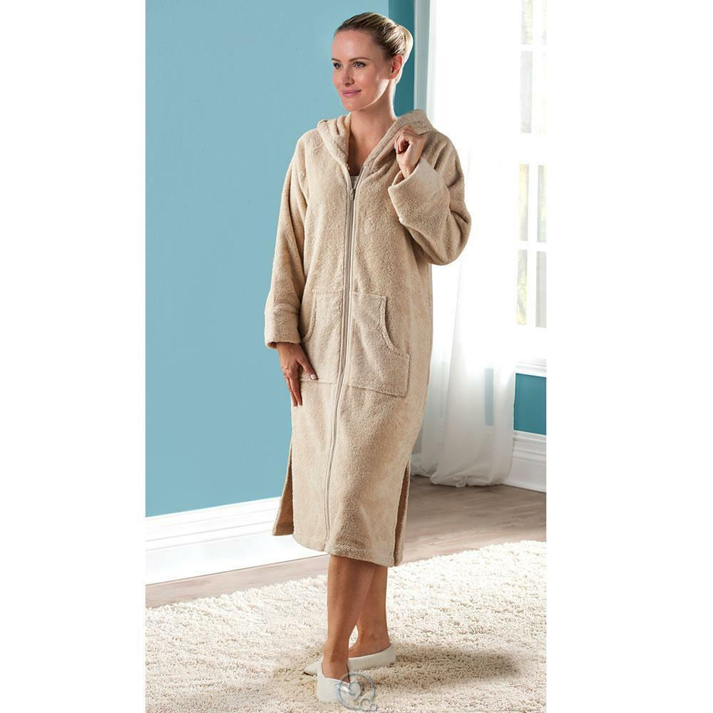 Ladies Genuine Turkish Cotton Hamam Lounger Long Robe Oatmeal Size Large