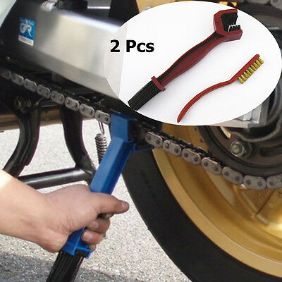 2x Moto Chain Gear Cycle Brake Oil Dirt Rust Cleaning Brush Remover Tools Set
