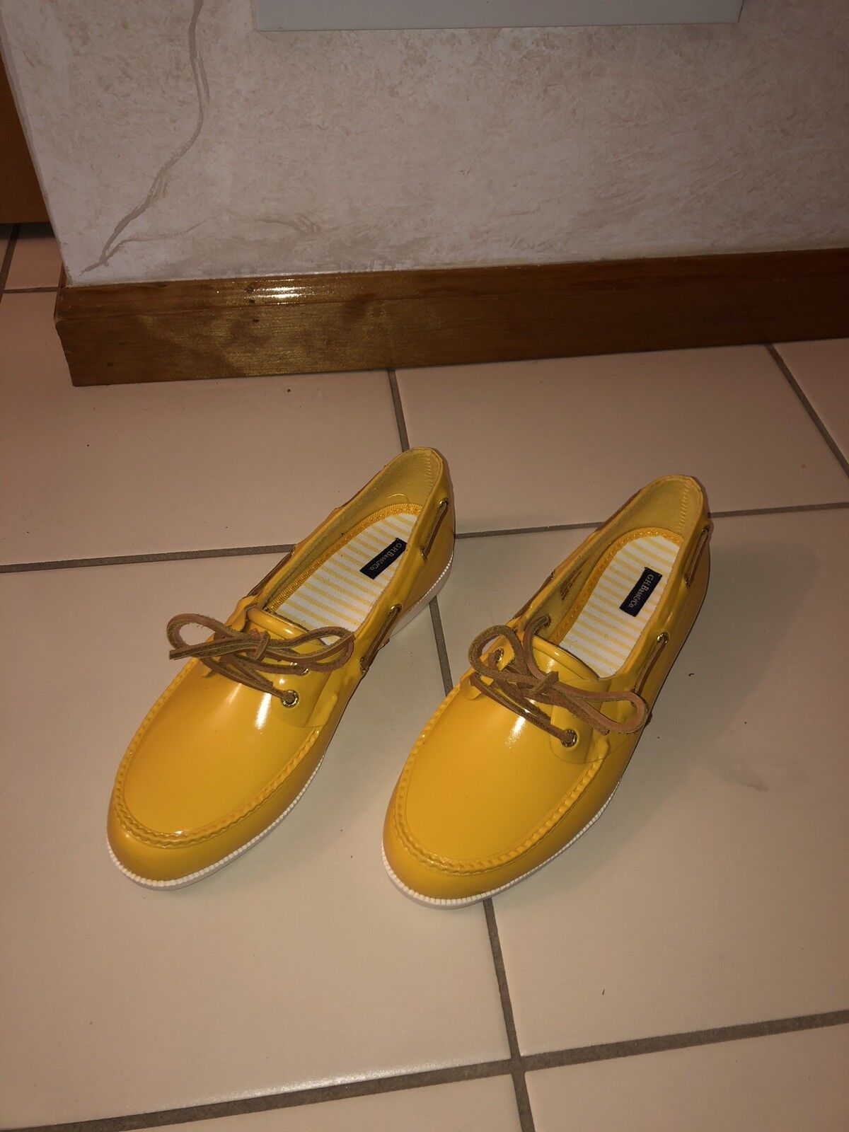 G.H. Bass & Co. Bass-Bay Yellow Slip On Lace Up Oxfords Women's Boat shoes