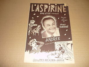 ANDREX-PARTITION-MUSICALE-4-PAGES-BELGE-L-039-ASPIRINE