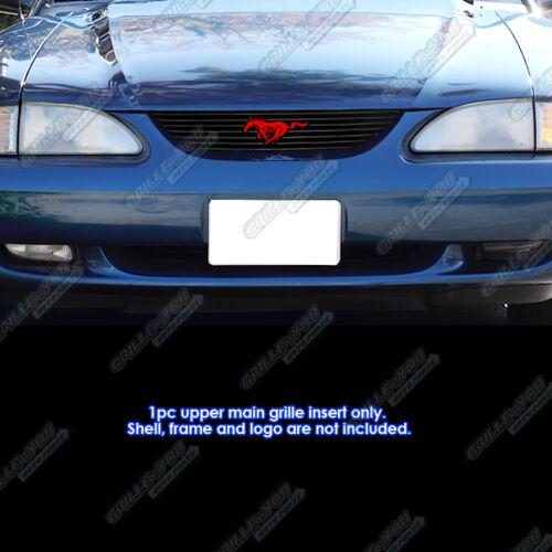 For 1994-1998 Ford Mustang Black Billet Grille Insert Logo Area Trimmed Style