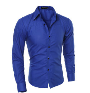 Blouse-Men-039-s-Slim-Fit-Shirt-Long-Sleeve-Formal-Dress-Shirts-Casual-Shirts-Tops