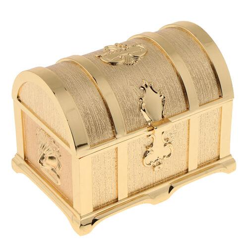 Classic Mini Jewelry Organizer Golden Zinc Alloy Travel Portable Storage Box